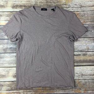 Theory Small Crew Neck Box Tan Short Sleeve Shirt